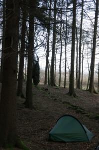 Tältplatsen första natten, mitt i skogen